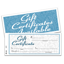 Adams(R) 2-Part Gift Certificates Kit, 3 2/5in. x 8 1/2in., White, Pack Of 25 Certificates/Envelopes