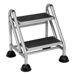 Cosco(R) Rolling Commercial Step Stool, 2-Step, 19 7/10 Spread, Black/Platinum