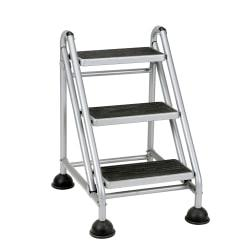 Cosco(R) Rolling Commercial Step Stool, 3-Step, 26 3/5 Spread, Black/Platinum