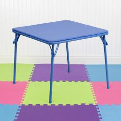 Flash Furniture Kids' Folding Table, Square, 20 1\/4in.H x 24in.W x 24in.D, Blue