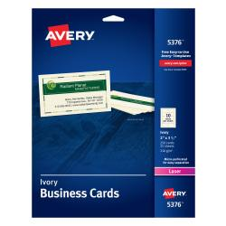 Avery(R) Laser Microperforated Business Cards, 2in. x 3 1/2in., Ivory, Pack Of 250