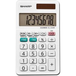 Sharp EL-244WB 8 Digit Professional Pocket Calculator - Extra Large Display, Durable, Plastic Key, Dual Power, 3-Key Memory, Automatic Power Down - 8 Digits - L