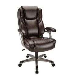 Realspace(R) Cressfield Bonded Leather High-Back Chair, Brown/Silver