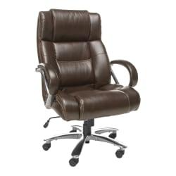 OFM Avenger Big Tall Bonded Leather High-Back Chair, 49in.H x 30in.W x 32in.D, Brown/Chrome
