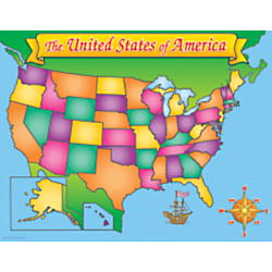 Scholastic Practice Chart, USA Map, 17in. x 22in.