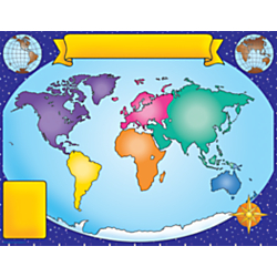 Scholastic Practice Chart, World Map, 17in. x 22in.