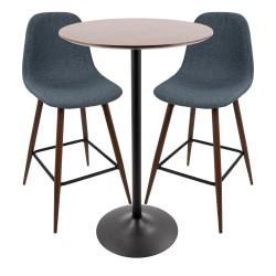 Lumisource Pebble Mid-Century Modern Pub Table With 2 Counter Stools, Walnut/Black/Blue