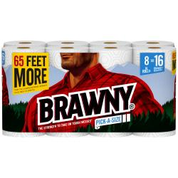 Brawny(R) Pick-A-Size(R) 2-Ply Paper Towels, 6in. x 11in., White, 130 Sheets Per Roll, Pack Of 8 Rolls