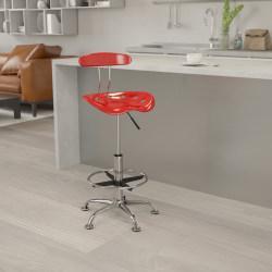 Flash Furniture Vibrant Drafting Stool, Wine Red/Chrome
