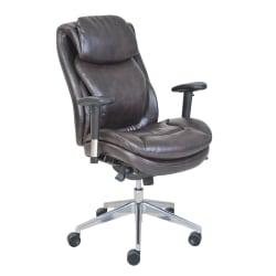 Serta (R) Wellness by Design AIR (TM) Commercial Series 200 Task Puresoft (R) Faux Leather Task Chair, Brown