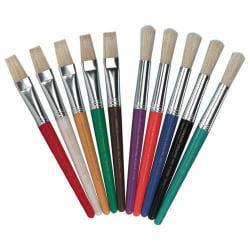 Charles Leonard Stubby Brush Set, Flat Bristle, Multicolor, Pack Of 10