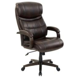 Realspace(R) Westdale Big Tall Bonded Leather High-Back Chair, Brown