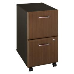 Bush Business Furniture Office Advantage 2 Drawer Mobile File Cabinet, Sienna Walnut/Bronze, Standard Delivery