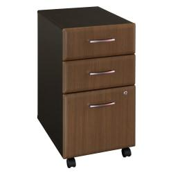 Bush Business Furniture Office Advantage 3 Drawer Mobile File Cabinet, Sienna Walnut/Bronze, Standard Delivery