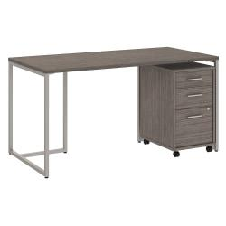 kathy ireland(R) Office by Bush Business Furniture Method Table Desk with 3 Drawer Mobile File Cabinet, 60in.W, Cocoa, Premium Installation