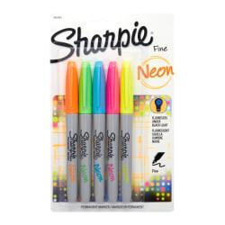 Sharpie(R) Neon Permanent Markers, Fine Point, Assorted Colors, Pack Of 5