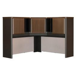 Bush Business Furniture Office Advantage Corner Hutch 48in.W, Sienna Walnut/Bronze, Premium Installation