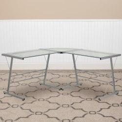 Flash Furniture L-Shaped Contemporary Glass Computer Desk, Silver/Clear