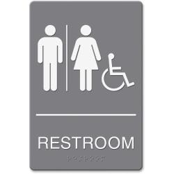 HeadLine Restroom/Wheelchair Image Indoor Sign - 1 Each - Restroom (Man/Woman/Wheelchair) Print/Message - 6in. Width x 9in. Height - Rectangular Shape - Double-