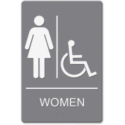 HeadLine Women/Wheelchair Image Indoor Sign - 1 Each - women's restroom/wheelchair accessible Print/Message - 6in. Width x 9in. Height - Rectangular Shape - Dou