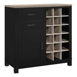 Ameriwood(TM) Home Carver Storage Cabinet/Buffet, 18 Cubbies/2 Shelves/2 Drawers, Black/Weathered Oak