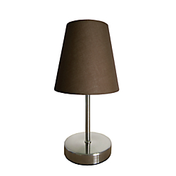 Simple Designs Mini Basic Table Lamp, 10in., Brown Shade/Sand Nickel Base