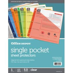 Office Depot(R) Brand Color Binder Pockets, 8 1/2in. x 11in., Assorted Colors, Pack Of 5