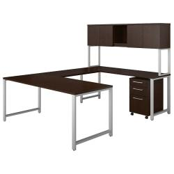 Bush Business Furniture 400 Series U Shaped Table Desk with Hutch and 3 Drawer Mobile File Cabinet, 72in.W x 30in.D, Mocha Cherry, Premium Installation