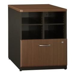 Bush Business Furniture Office Advantage Storage Cabinet, 24in.W, Sienna Walnut/Bronze, Premium Installation