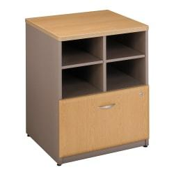 Bush Business Furniture Office Advantage Storage Cabinet, 24in.W, Light Oak/Sage, Premium Installation