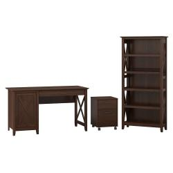 Bush Furniture Key West 54in.W Computer Desk With Storage, 2 Drawer Mobile File Cabinet And 5 Shelf Bookcase, Bing Cherry, Standard Delivery