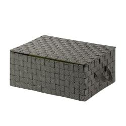 Honey-Can-Do Hinged-Lid Woven Storage Box, 12in.L x 17in.W x 7in.H, Salt/Pepper