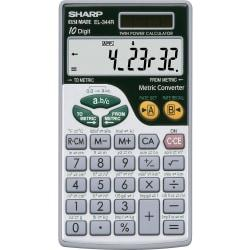 Sharp Calculators EL-344RB 10-Digit Handheld Calculator - 3-Key Memory, Sign Change, Auto Power Off - Battery/Solar Powered - Battery Included - 0.3in. x 2.7in.