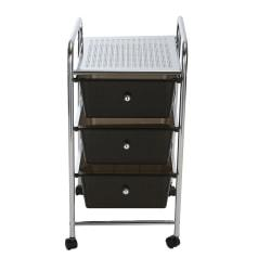 Mind Reader 3-Drawer Metal All-Purpose Rolling Utility Cart, Black