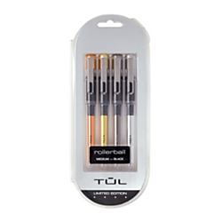 TUL Prestige Metal Liquid Ink Rollerball Pens, Medium Point, 0.7 mm, Assorted Barrels, Black Ink, Pack Of 4