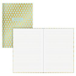 Blue Sky Gold Geo Bookbound Notebook, 5in. x 8in., 80 Sheets, Gold/Blue