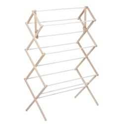 Honey-Can-Do Accordion-Style Wood Drying Rack, 41in.H x 14in.W x 29in.D, Natural/White