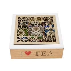Mind Reader Tea Box Storage Holder, 9 1/2in.H x 9 1/4in.W x 3 3/16in.D, Wood Floral