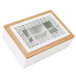 Mind Reader Tea Box Glass-Window Storage Holder, 6 1/2in.H x 9 1/4in.W x 3in.D, Brown