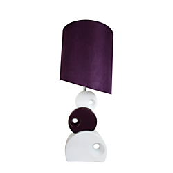 Elegant Designs Stacked Circle Ceramic Table Lamp, 29in.H, Purple Shade/Purple and White Base