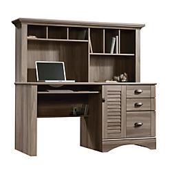 Sauder(R) Harbor View Collection Computer Desk With Hutch, Salt Oak