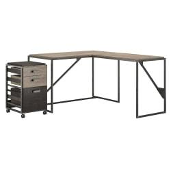 Bush Furniture Refinery 50in.W L Shaped Industrial Desk With 37in.W Return And Mobile File Cabinet, Rustic Gray/Charred Wood, Standard Delivery