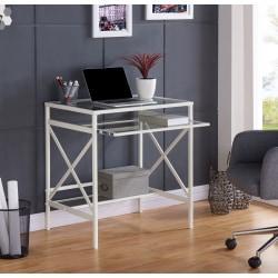 Southern Enterprises Elvan Metal Glass Desk, White