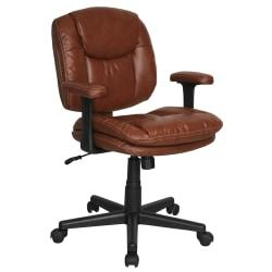 Dorra Bonded Leather Task Chair, 37 2/5in.H x 26 2/5in.W x 27 2/5in.D, Brown
