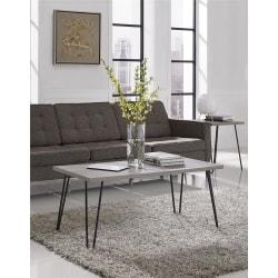 Ameriwood(TM) Home Owen Retro Coffee Table, Rectangle, 17-7/8in.H x 42in.W x 19-1/2in.D, Distressed Gray Oak/Black