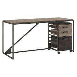 Bush Furniture Refinery Industrial Desk With 3 Drawer Mobile File Cabinet, 62in.W, Rustic Gray/Charred Wood, Standard Delivery