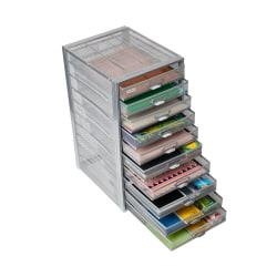 Mind Reader 10-Drawer Mesh Office Cabinet, 21-1/2in.H x 10-1/2in.W x 13-3/4in.D, Silver, Standard Delivery