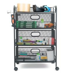 Mind Reader 4-Drawer Mesh Rolling Office Cart, 24in.H x 16-1/2in.W x 12in.D, Black, Standard Delivery