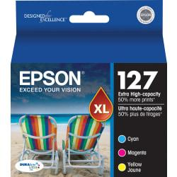 Epson(R) 127 DuraBrite(R) Ultra Tricolor Ink Cartridges (T127520-S), Pack Of 3