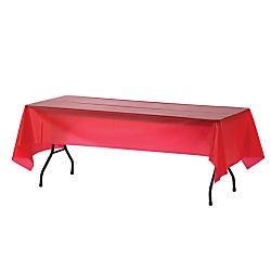 Genuine Joe Plastic Table Covers, 54in. x 108in., Red, Pack Of 6